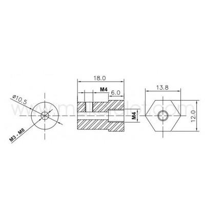 Hex Brass DC Motor Wheel Coupling Connector 3 5 6 8 mm; Copper Coupler