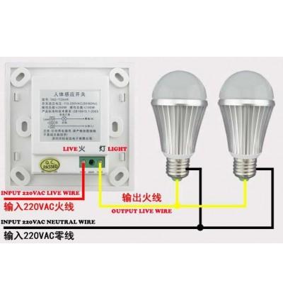 PIR LDR Auto On Wall Motion Sensor Lamp Switch 220V