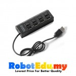 USB 2.0 0.5m Portable 4 in 1 Port Hub Individual Power On/Off Switch