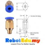 PC4-M6 3D Printer 4mm Teflon Tube Pneumatic Brass Fitting Nozzle