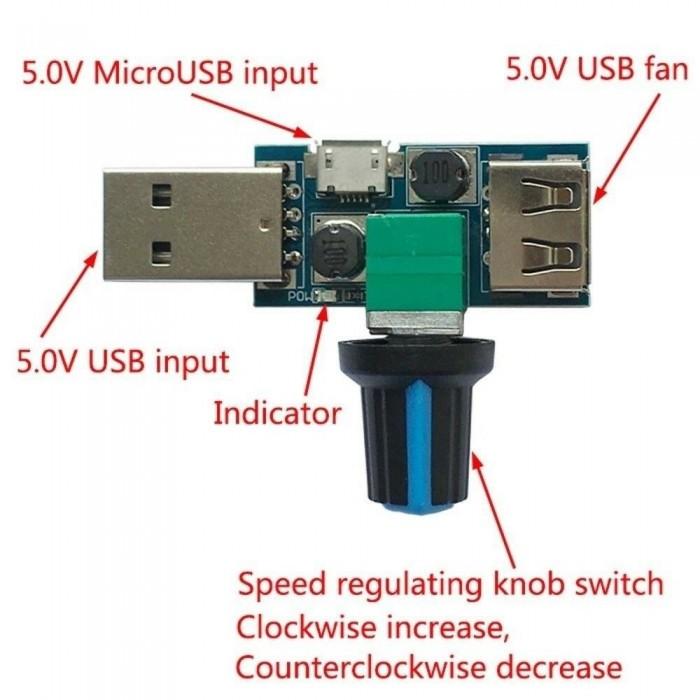DC 5V-12V 5W USB Fan Speed Controller Regulator Speed Adjustable