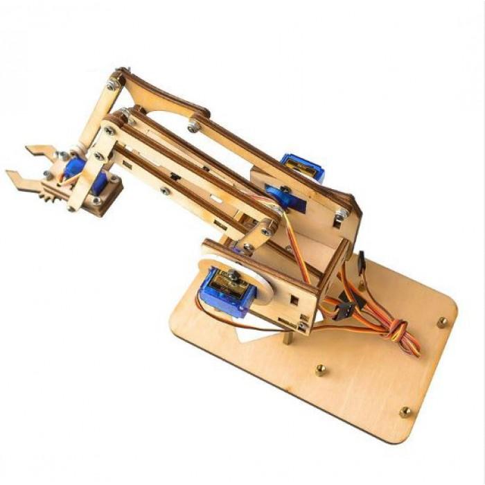Arduino DIY MeArm 4DOF Wooden Robotics Robot Arm Kit + SG90 / MG90s
