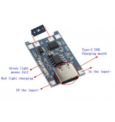 USB Type C 5V 1A 18650 TP4056 Lithium Battery Charger Module Charging Board