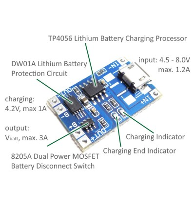 TP4056 5V 1A Mirco USB 18650 Lithium Battery Charging Board Module W Protection
