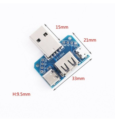 4 in 1 USB Converter Standard USB Female to Male to Micro USB to Type-C to 4P 2.54mm Terminal